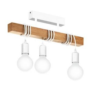 hanglamp eglo hout staal bruin wit